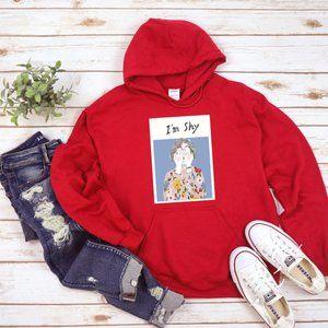 I m shy red hoodie,